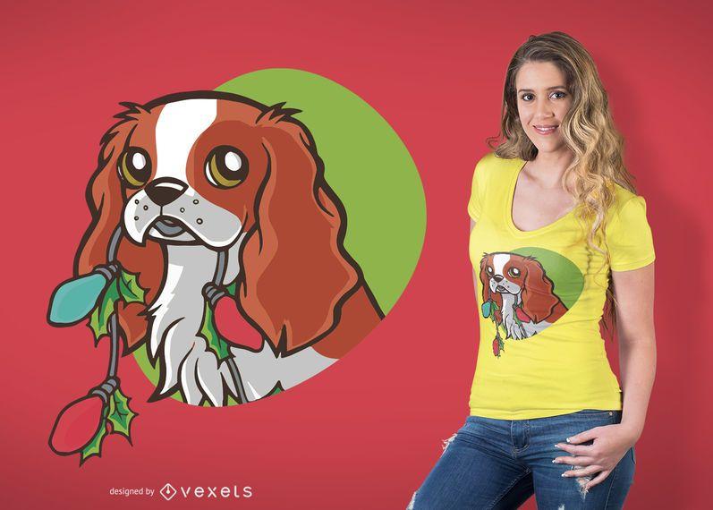 Design bonito do t-shirt do cão do Natal