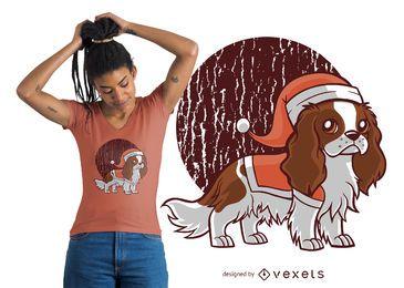 Design bonito do t-shirt do chapéu do cão de Santa