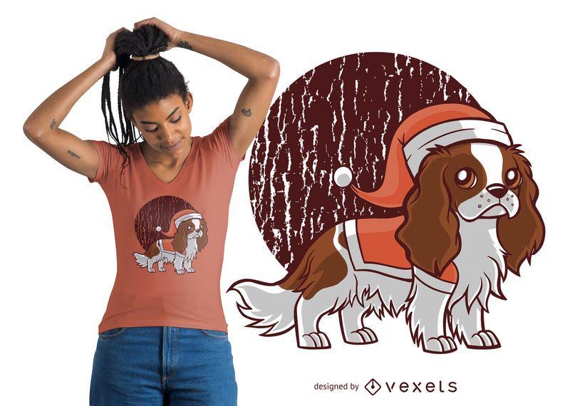 Cute Santa Dog Hat T-shirt Design