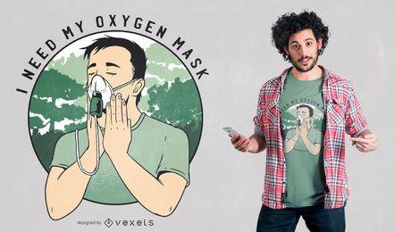 Diseño divertido de la camiseta de la máscara de oxígeno