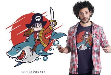 Diseño de camiseta pirata Riding Shark