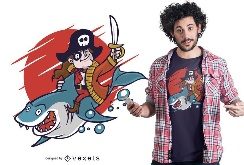 Projeto do t-shirt do tubarão da equitação do pirata