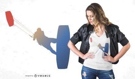 Diseño de camiseta degradado de kitesurf
