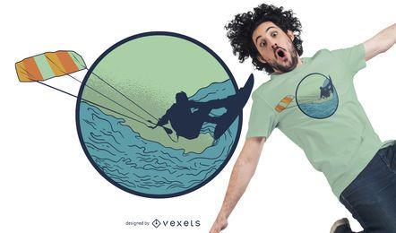 Diseño de camiseta Kitesurfer