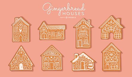 Conjunto de vector de casas de pan de jengibre