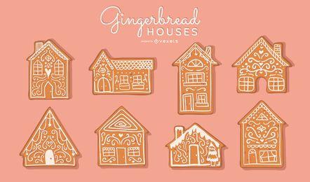 Conjunto de vectores de casas de pan de jengibre