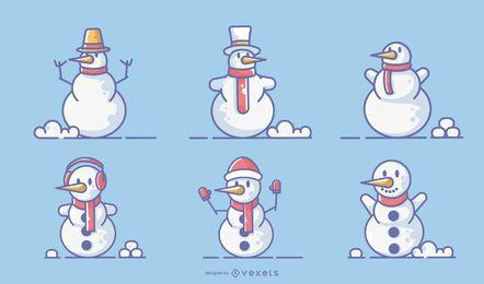 Conjunto de vector de trazo coloreado de muñecos de nieve