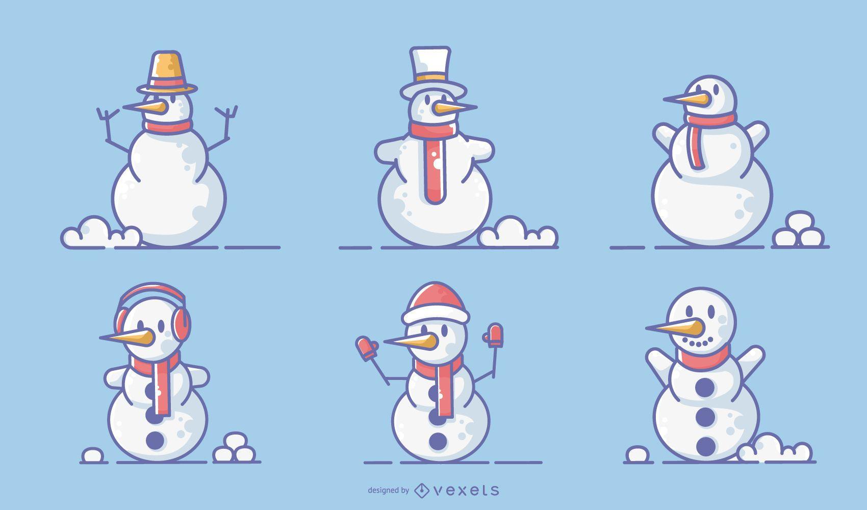 Conjunto de vector de trazo de colores de muñecos de nieve