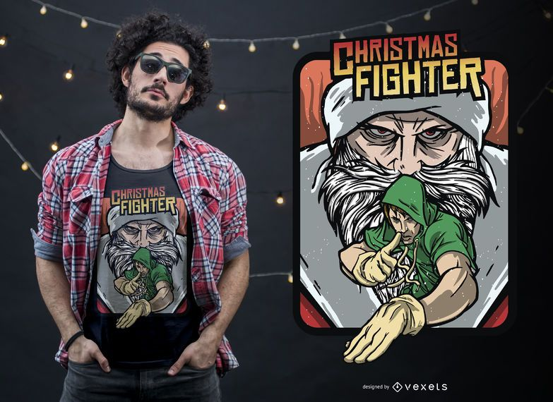 Christmas Fighting Game T-shirt Design