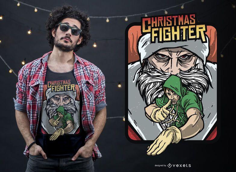 Diseño de camiseta de Christmas Fighting Game