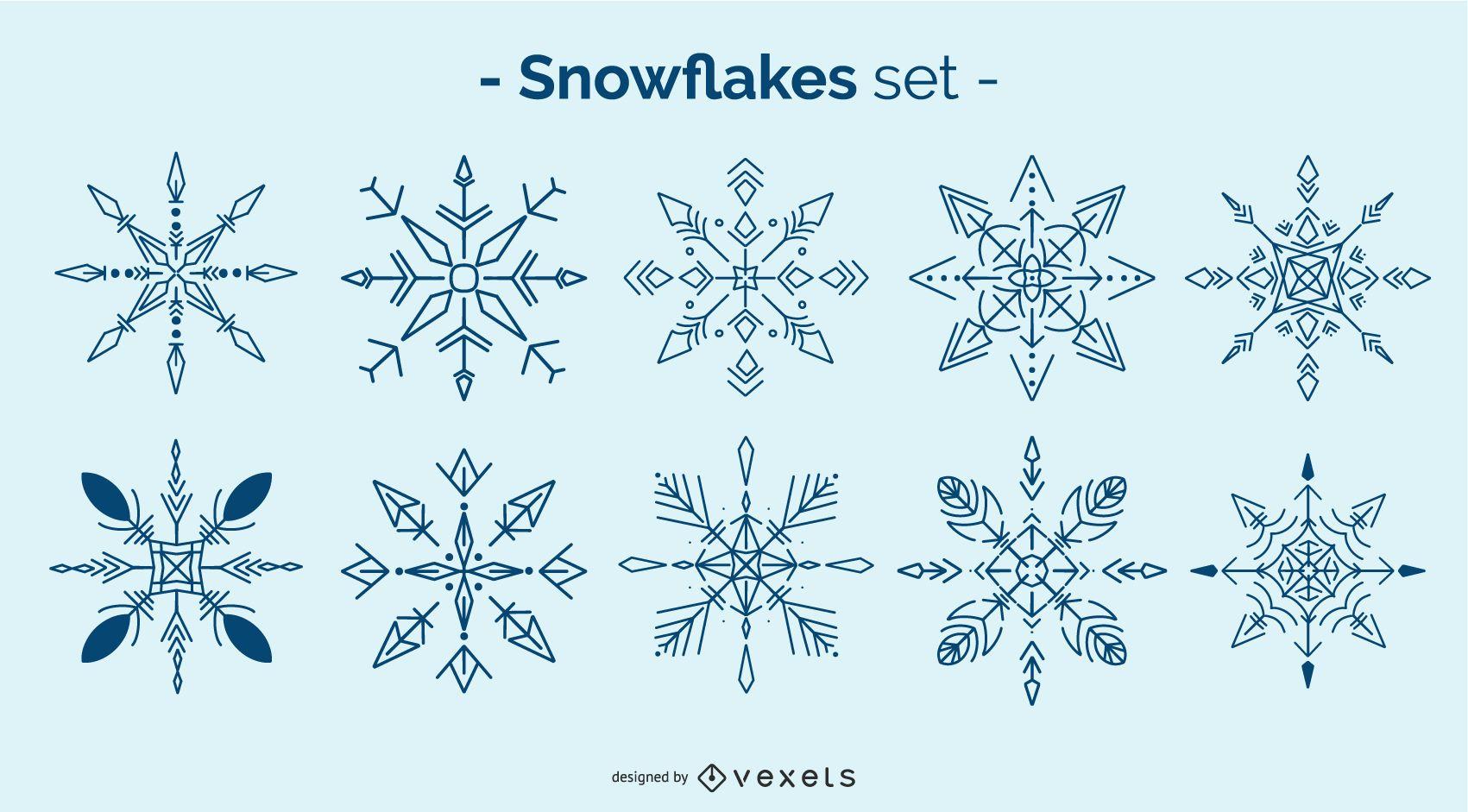 Paquete de diseño de copo de nieve