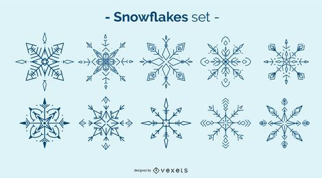 Conjunto de elementos de floco de neve de inverno