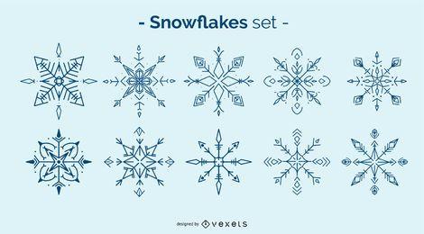 Conjunto de elementos de inverno floco de neve