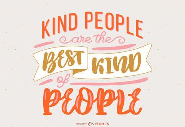 Kind People Handwritten Lettering Design