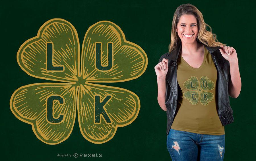 Design de camiseta de trevo de quatro folhas