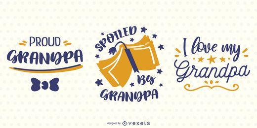 Conjunto de diseño de banner de letras de abuelo