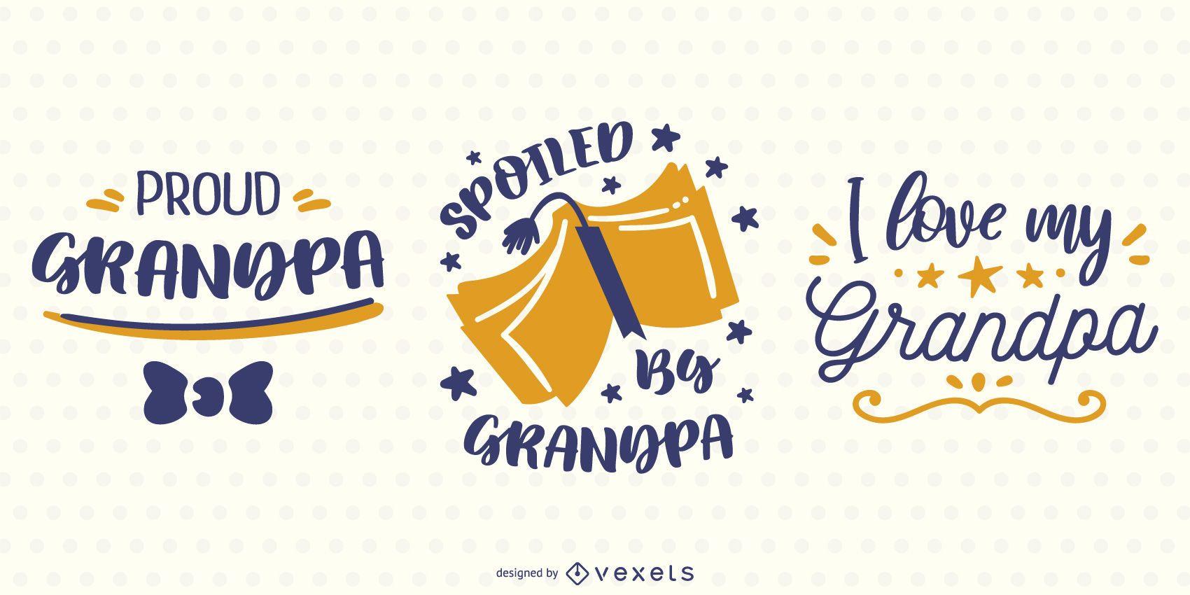 Grandpa Lettering Banner Design Set