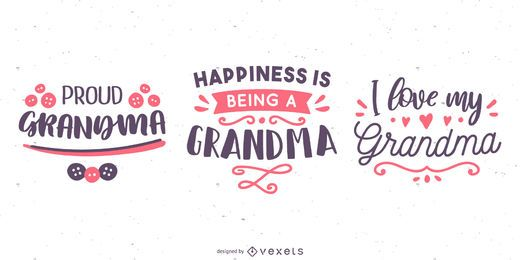 Conjunto de banner de letras de abuela