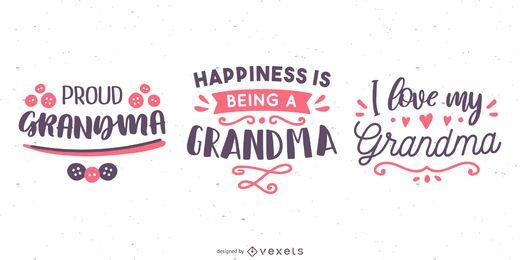 Conjunto de banners de letras de abuela
