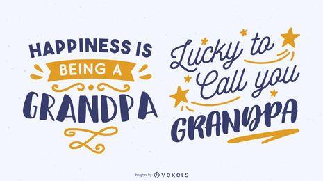 Conjunto de diseño de letras de cita de abuelo