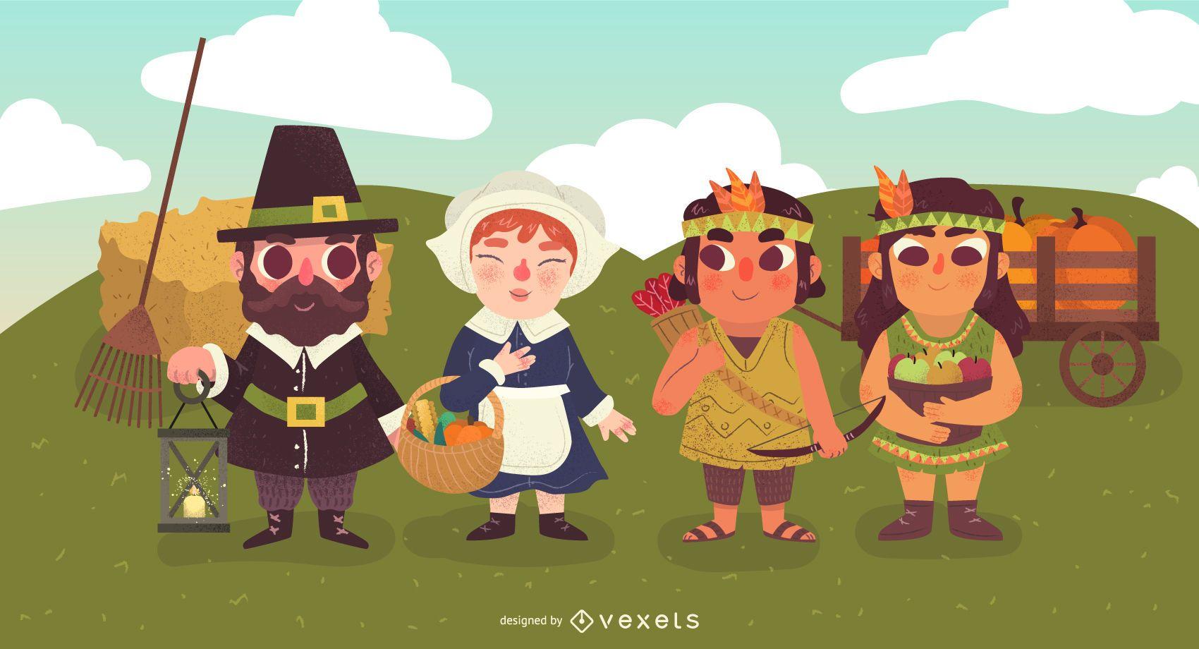 Ilustración de personajes de acción de gracias