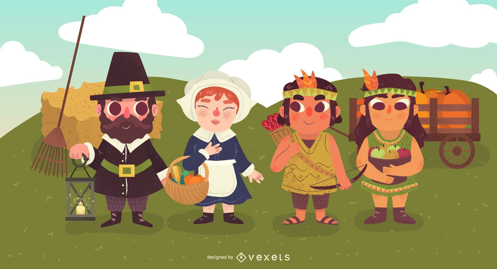 Thanksgiving characters illustration