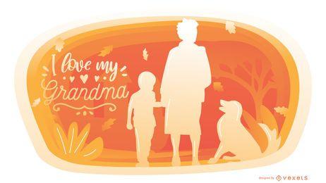Diseño gráfico de la cita de la familia de la abuela