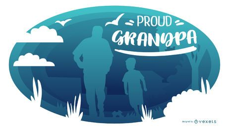 Proud Grandpa People Silhouette Composition