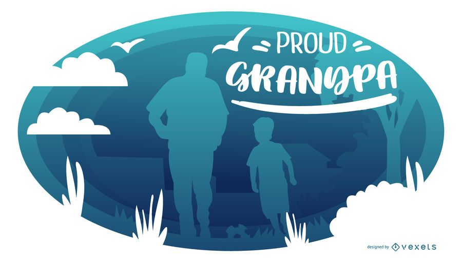 Proud Grandpa People Silhouette Composition