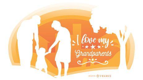 Composición de silueta de familia de abuelos