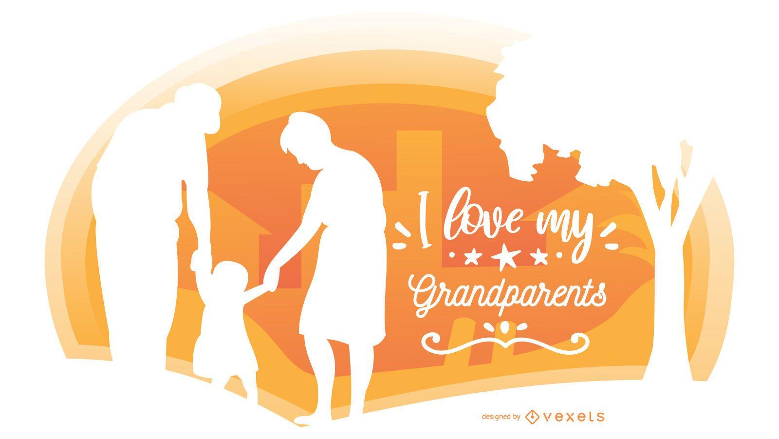 Grandparent Family Silhouette Composition