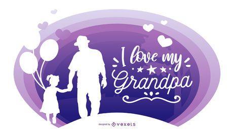 Großvater-Enkelin-Leute-Schattenbild-Zusammensetzung