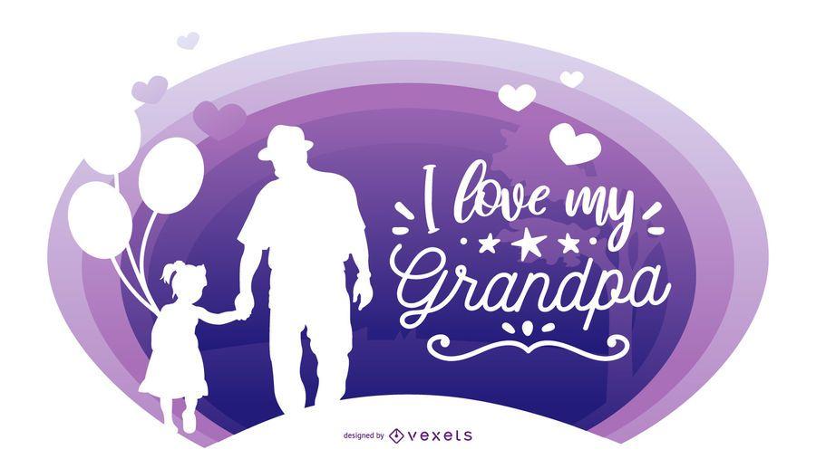 Abuelo nieta personas silueta composición