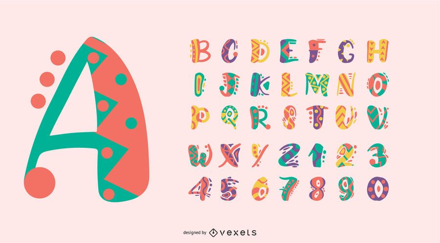 Conjunto de números de letras do alfabeto colorido em estilo mexicano