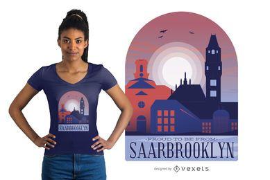 Projeto do t-shirt das citações da skyline de Saarbrücken