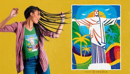 Bunter Rio-T-Shirt Entwurf