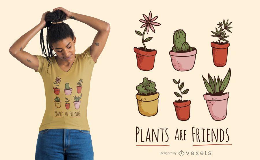 Diseño de camiseta de plantas son amigos