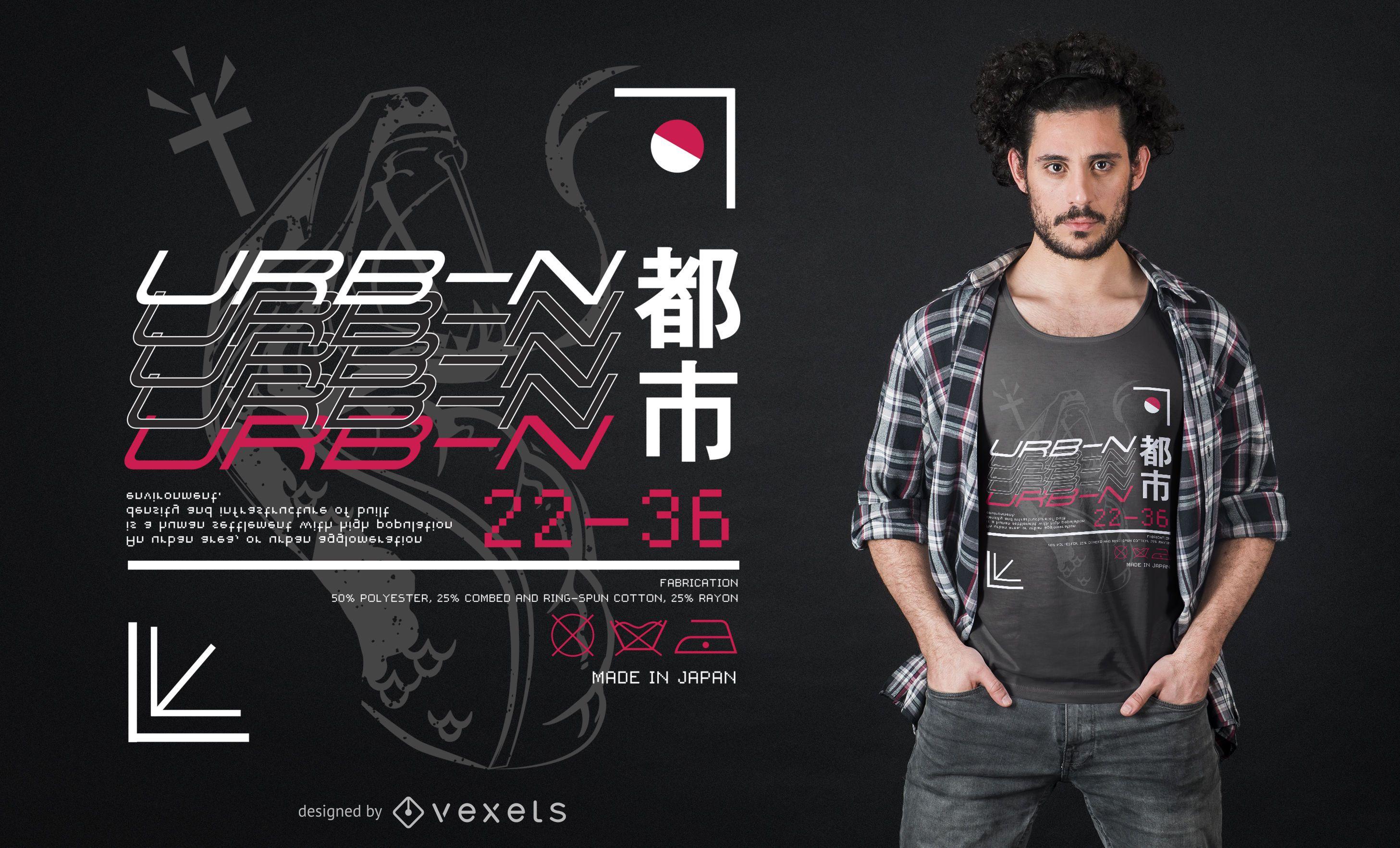 Diseño de camiseta Urban City Japan