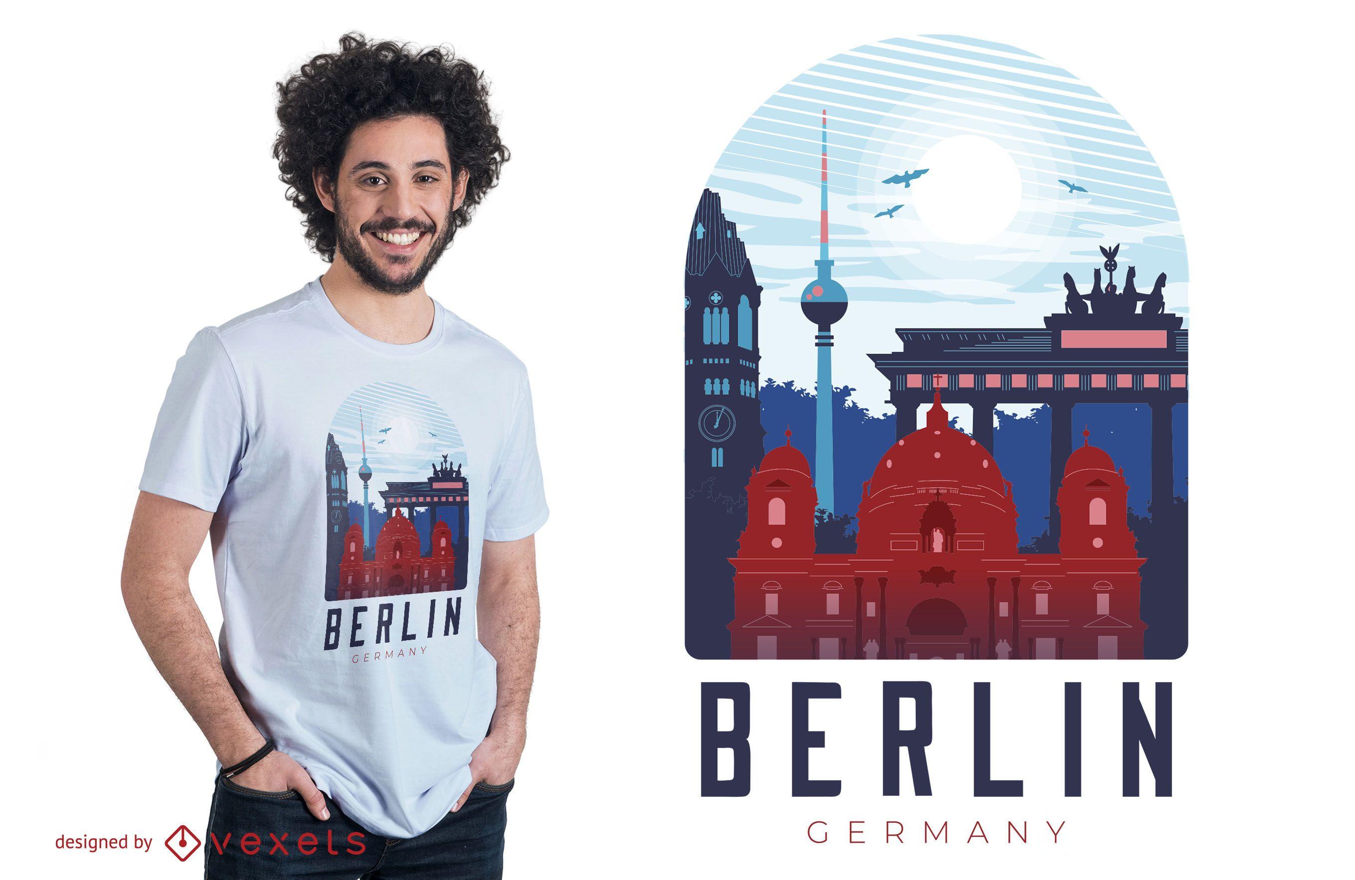 Diseño de camiseta de horizonte de Berlín