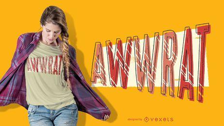 Design de t-shirt de letras de rato Aww