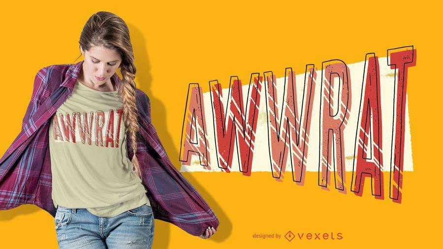 Diseño de camiseta Aww Rat Lettering