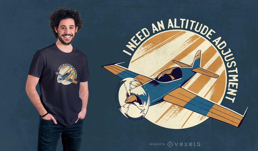 Design de t-shirt de citação de avião a voar