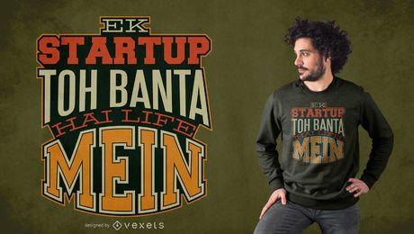 Design de t-shirt de Romanized Hindi Quote de inicialização