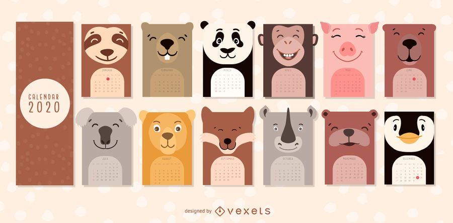 Diseño de calendario de animales 2020