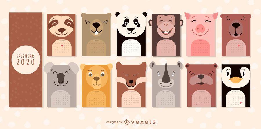 Projeto de calendário 2020 de animais