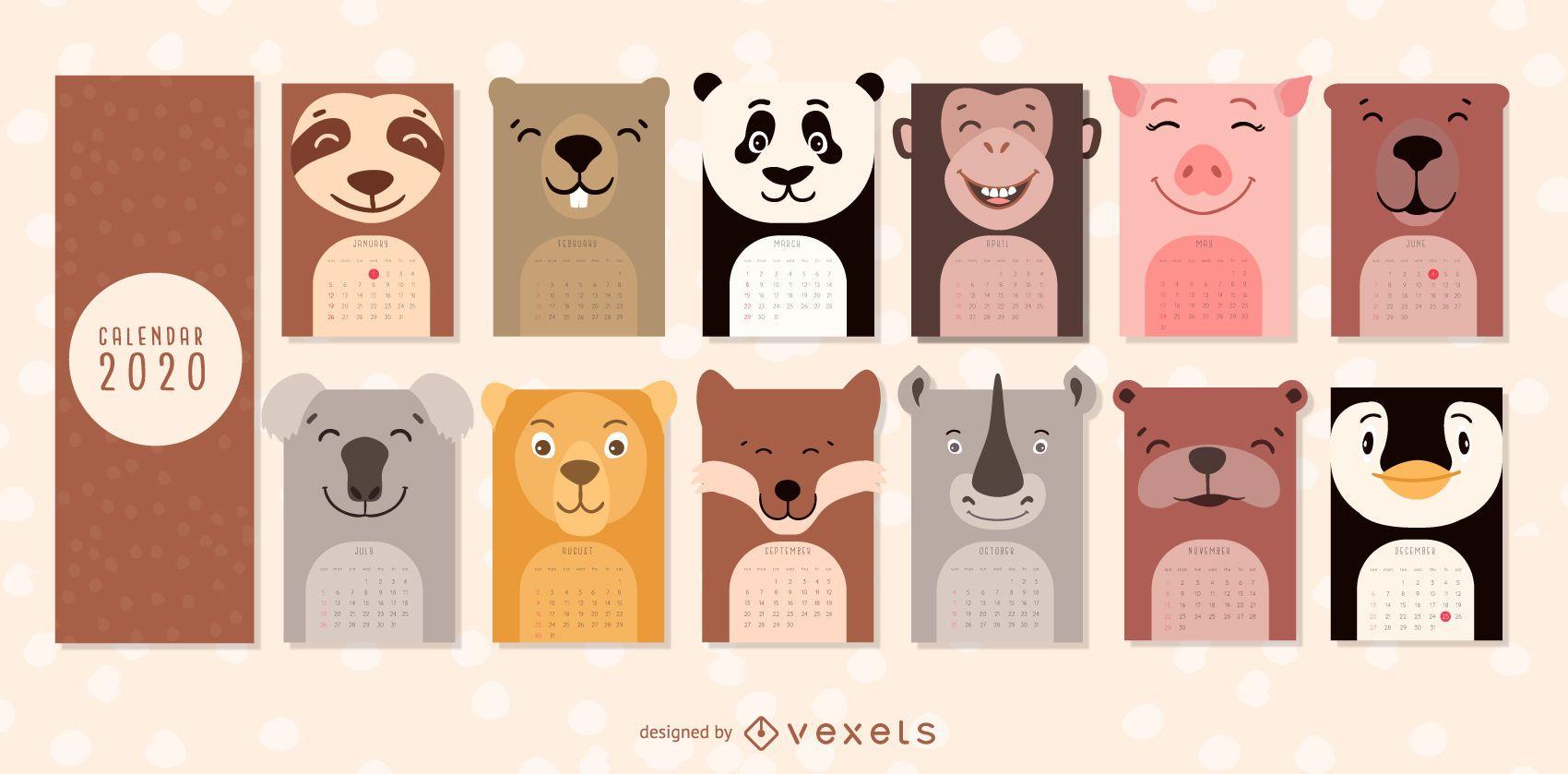 Animals calendar 2020 design