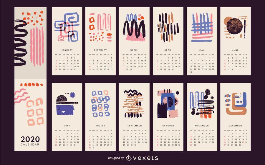 Diseño de calendario colorido abstracto 2020