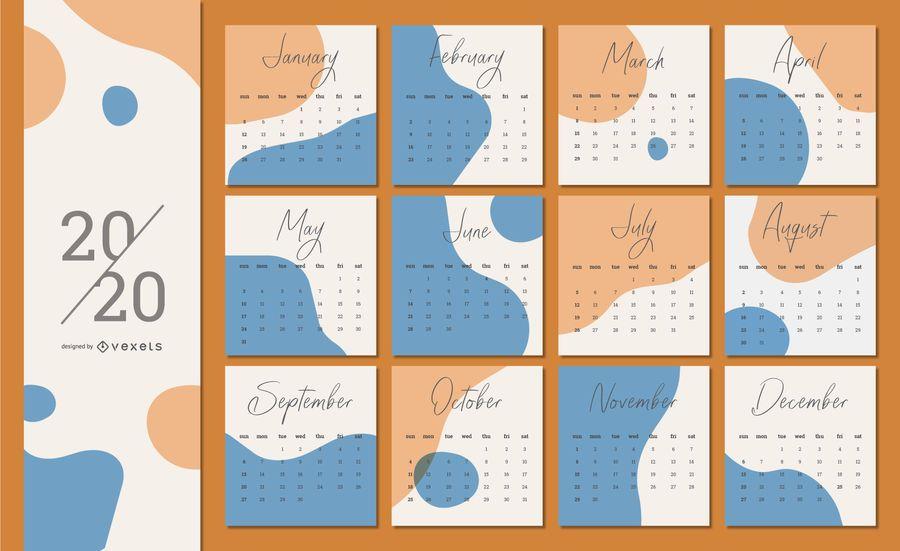 Diseño abstracto del calendario 2020