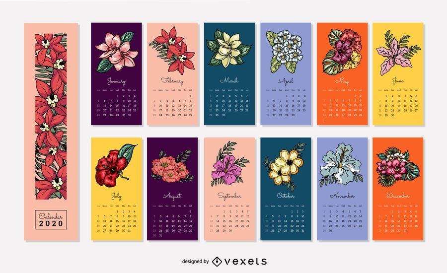 Diseño floral del calendario 2020