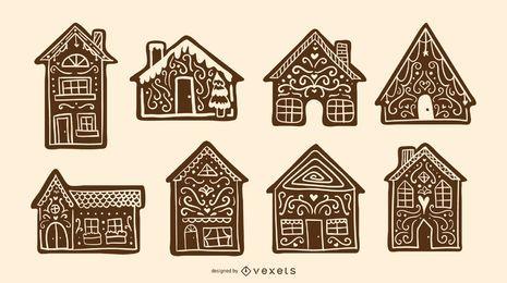 Conjunto de silueta de casas de pan de jengibre